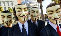Members of Anonymous (seen here wearing Guy Fawkes masks) hacked the French presidential Elysee Palace Web site in early 2012, and  briefly knocked the FBI and Justice Department Web sites offline in retaliation for the U.S. shutdown of file-sharing site Megaupload.