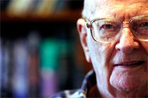 Arthur C. Clarke, the author of more than 70 books of popular science and science fantasy and a pretty good futurologist to boot, in his office in November 2003