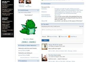 This section of the profile contains the member's wall, a space where other members can leave comments and messages. The wall is just one of many Facebook applications.