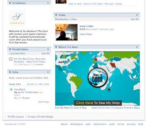 Facebook members can choose to use third-party applications like this map feature to enhance their profiles.