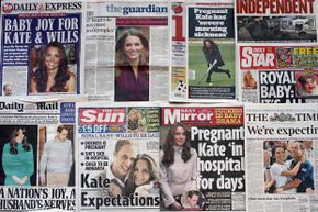 A selection of British newspapers profile the Duchess of Cambridge's pregnancy.  Note the different angles they take.