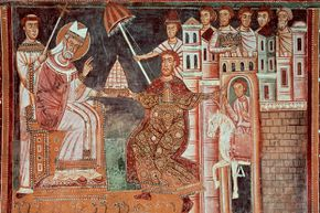 Though the Donation of Constantine document was a forgery, the alleged gift to Pope Sylvester I was so important for so long that it was often depicted in art like this fresco in the Chapel of St. Sylvester, Basilica of Four Crowned Saints, Rome, Italy.