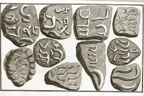 """Illustration of fake fossils that Berniger believed to be real, from his book """"Lithographiae Wirceburgensis,"""" published in 1767."""
