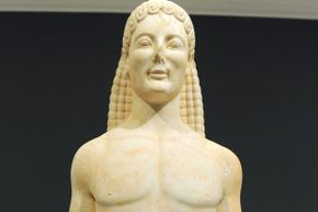 This statue, which is on exhibit at the Getty Villa Museum in Malibu, has a questionable background.