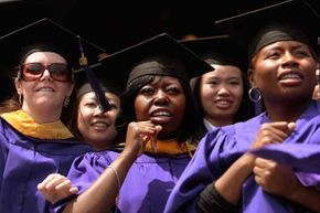 Graduate candidates in the nursing program wait to be conferred their degrees during commencement exercises for New York University in 2009.