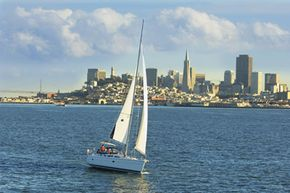 Sailing on a nice day is certainly a San Francisco Treat -- unless you fall overboard and die. See more pictures of sailing.