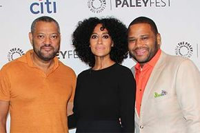 Actors Laurence Fishburne, Tracee Ellis Ross and Anthony Anderson (who star in the TV show 'Blackish') attend the 2014 PaleyFest Fall TV preview for ABC in Beverly Hills, California.
