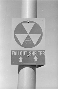 A Nuclear Fallout Shelter sign in Las Vegas, Nev.