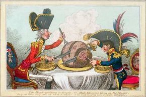 This political cartoon shows British Prime Minister William Pitt and Gen. Napoleon Bonaparte dividing up the globe, almost certainly after the Peace of Amiens in 1802. Note how much smaller Napoleon is depicted than Pitt.