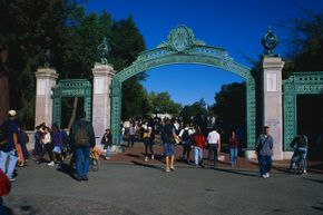 Berkeley campus' iconic Sather Gate in the late 20th century