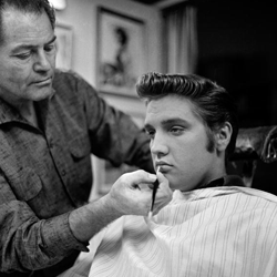 """Elvis got a slight touch-up to his famous pout before his September appearance on """"The Ed Sullivan Show"""" in 1956."""