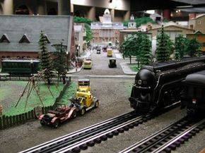Carnegie Science Center view down the Main Street on Carnegie Science Center's Miniature Railroad & Village display.