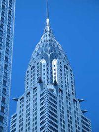 The Chrysler building pierces the sky over midtown Manhattan.