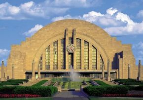 Beginning in 1933, one of the most memorable aspects of a departure by passenger train from Cincinnati was this view of the triumphal art deco facade of the city's Union Terminal.