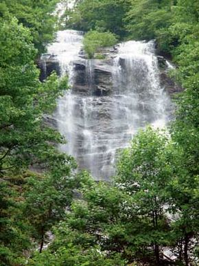 Amicalola Falls, seen here from the crossover bridge, is the                                  tallest cascading waterfall east of the Mississippi River.
