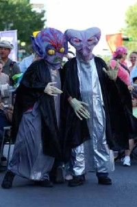 More than 50,000 visitors attend the                                  Amazing Roswell UFO Festival each year                                                  The four-day festival features music, food,                                                  and alien costume contest.
