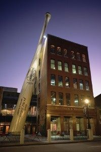 The world's largest bat is mounted next to the Louisville Slugger Museum.