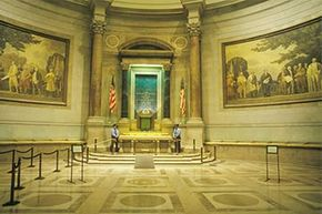 An interior of the National Archives in Washington, D.C. The National Archives houses the census records and other documents of great value to genealogists.