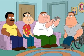 The central character in the animated series 'Family Guy' is Peter Griffin, second from right.
