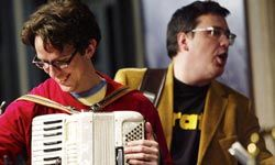 They Might Be Giants accordion player and lead singer John Linnell and guitarist John Flansburgh perform in New York City.