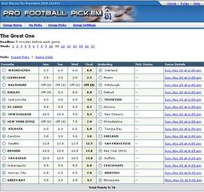Yahoo.com's Fantasy Sports Fantasy Football Pick 'em game.
