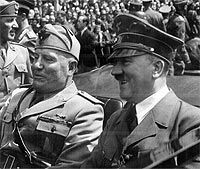Italian Fascist leader Benito Mussolini (left) and Adolph Hitler, 1940