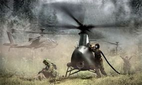The Fire Scout Apache, an autonomous Class IV UAV developed by Northrop Grumman for the U.S. Army's FCS initiative.