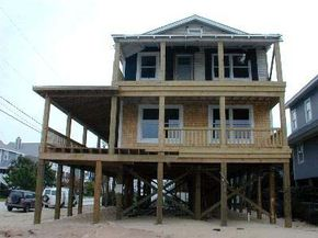 This older home in Wrightsvile Beach, NC, a Project Impact Community, is being elevated to provide protection from a hurricane storm surge.