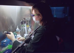 Chuck Kennedy/Getty Images                              Mitochondrial DNA is useful in identifying relatives. It's used here at the Armed Forces DNA Identification Laboratory in Rockville, Md., for use in identifying the remains of soldiers.