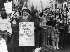 Second-wave feminists march during the Women's Liberation parade in 1970.