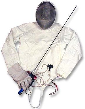 Here is the equipment for a competitor in foil/epee: a jacket, mask, glove, electric foil and body cord.