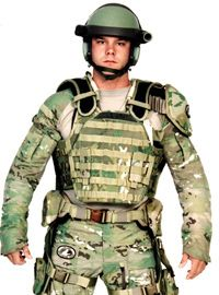 The Future Force Warrior is protected by liquid body armor built into his or her uniform.