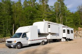 A pickup truck hauling a camper also uses a fifth wheel.