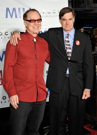 """Film composer Danny Elfman, left, taught himself how to write music for films. He is at the premiere of """"Milk"""" with director Gus Van Sant."""