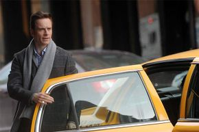 Actor Michael Fassbender is shown on location in one of the less-racy scenes from 'Shame,' the first NC-17 film to get wide release.