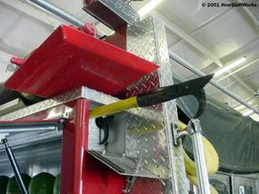 A pike pole is one of the forceful-entry tools used by firefighters.