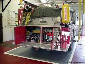 """Fire engines used for rescue will often have the """"Jaws of Life"""" onboard."""