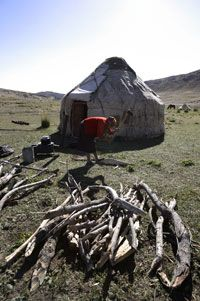 A Kazakh woman splits and separates firewood outside of her yurt at the Akejiaer Village.