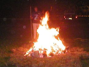 The fire is lit long before the firewalking starts.