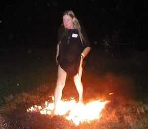 Firewalking barefoot over hot coals has been featured in movies and TV reality shows. See more bodily feats pictures.