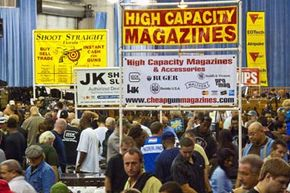 Hundreds attend a gun show in Fort Lauderdale, Fla. Background checks are not required at gun shows.