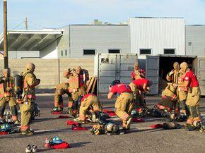 Firefighter recruits prepare for training in Las Vegas, Nev.