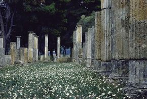 Ancient Greece Image Gallery These crumbling columns in a field of daisies at Olympia once supported a mighty temple during the time of the first Olympic Games. See more pictures of ancient Greece.