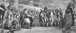 This engraving shows the awards ceremony at the ancient Olympic Games, circa 600 B.C.
