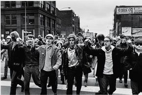 Members of the American radical group the Weathermen protest in Chicago in 1969. See more pictures of protests.