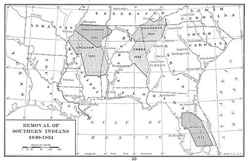 map of Five Civilized Tribes original locations