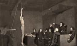 A 15-century tribunal uses ropes to elicit a confession in this engraving from a painting by A. Steinheil