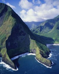 The type of dramatic cliff that propelled Pu'uka'oku to No. 8 on our list lines parts of the north shore of Molokai.