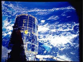 A view of the Hubble spacecraft as it orbits the Earth. See more Hubble Space Telescope pictures.