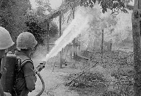 A U.S. flamethrower operator in Vietnam during Operation New Castle -- the weight and size of the fuel tanks made the soldier extremely vulnerable to enemy fire, and troops had to be assigned to protect him.
